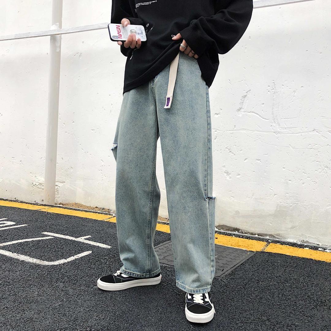 Compre 2019 Agujeros De Hombre Pantalones Anchos Piernas Ocio Pantalones Holgados Holgados Homme Pantalones Vaqueros Clasicos Pantalones Vaqueros Rectos Biker Denim S 2xl A 44 2 Del Aqueen Dhgate Com