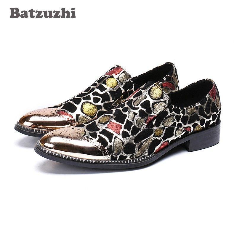 Batzuzhi Luxury Handmade Chaussures Hommes Scarpe da uomo Punta in metallo con cappuccio Glitter Oxford Scarpe da uomo Scarpe eleganti in pelle, Big US12