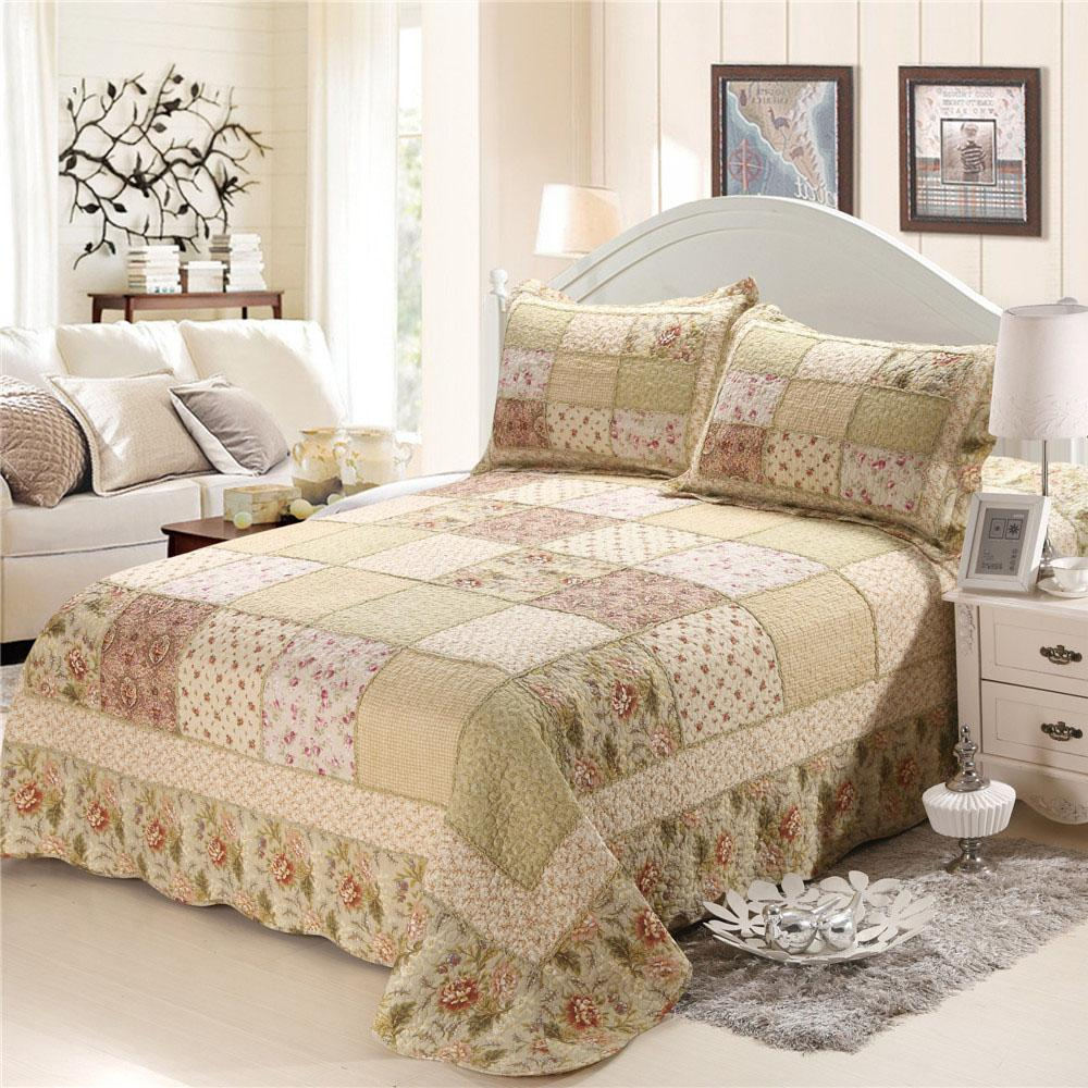 CHAUSUB Cotton Patchwork Quilt Set 4pcs/3pcs Korean Floral Bedspread Bed Cover Duvet Cover Shams Queen Size Quilted Bedding Set