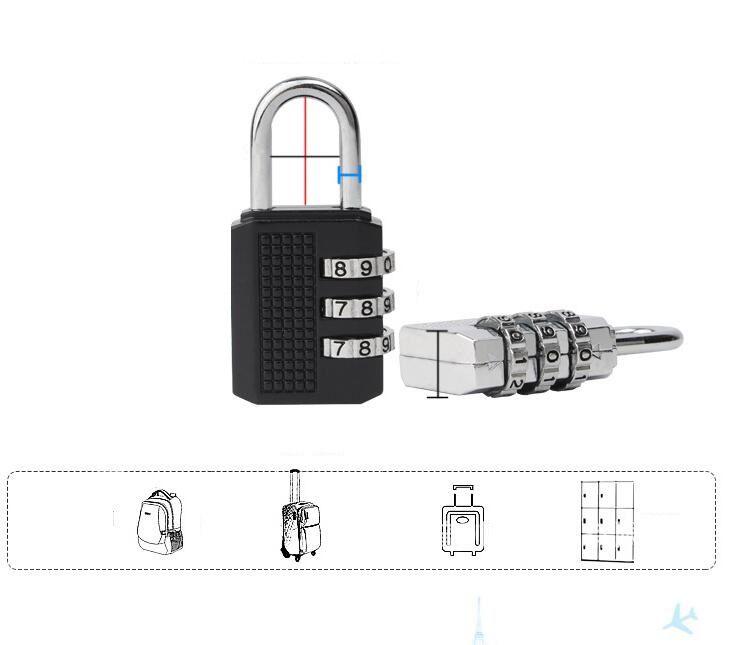 Mais novo 4-dial 3-dial de aço Combinação Fechadura de Combinação Cadeado de Bagagem PC combinação de Segurança Fechadura Coded Bloqueio knob cadeados