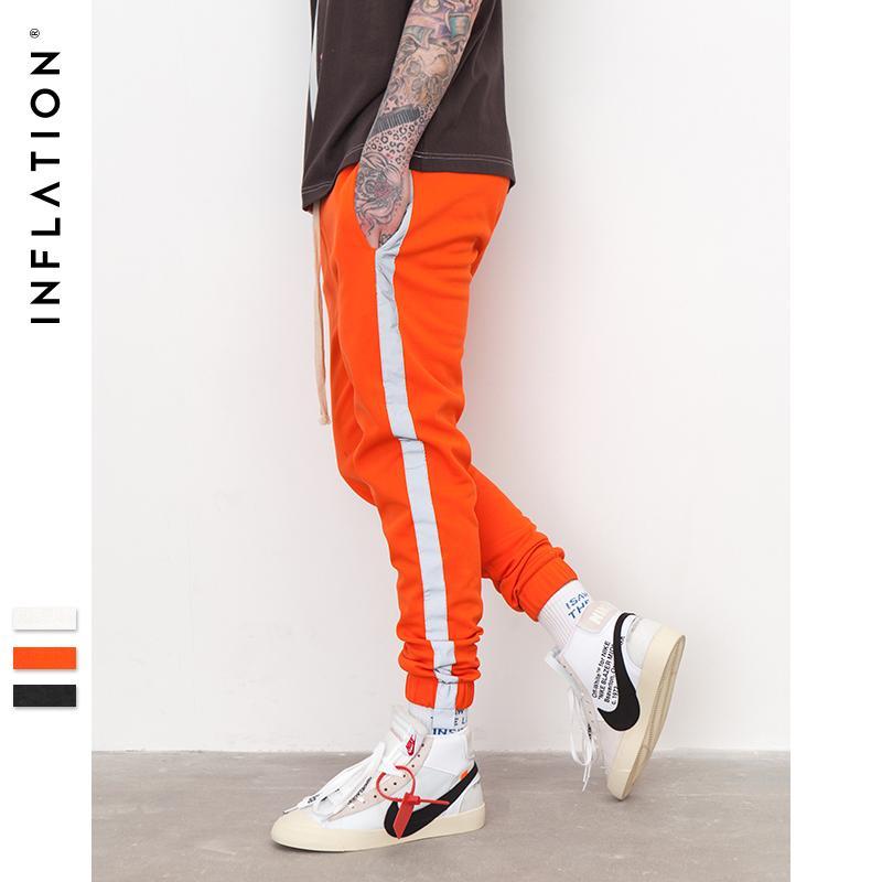 INFLAÇÃO listrado Reflective Pant Mens 2018 Hip Hop Casual Joggers Sweatpants Calças Masculino Rua Mens Fashion Calças 8407S C18111301