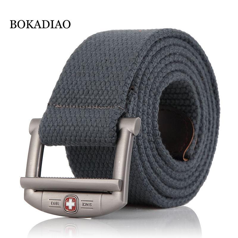BOKADIAO Uomo Cintura militare in tela di lusso designer Cintura in metallo con fibbia in metallo Cinture tattiche militari per uomo Cintura in vita uomo