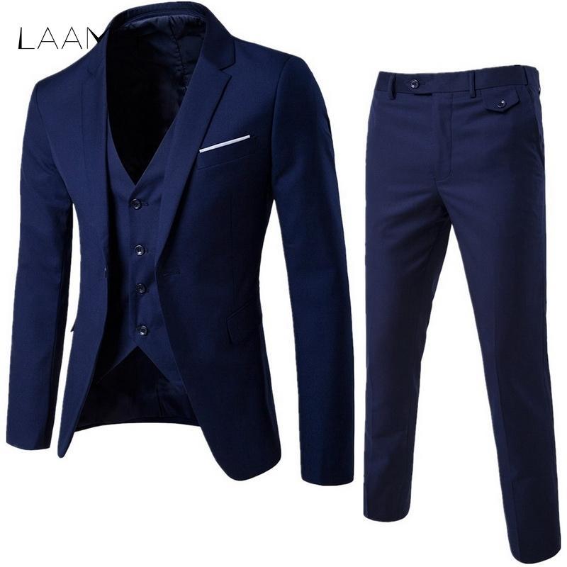 Laamei Erkek 3 adet (ceket + Yelek + Pantolon) Erkek İş Elbise Slim Fit İnce Bahar Suit Katı Gündelik Ofis Takım Elbise Asya Xl = bize Xxs Q190330