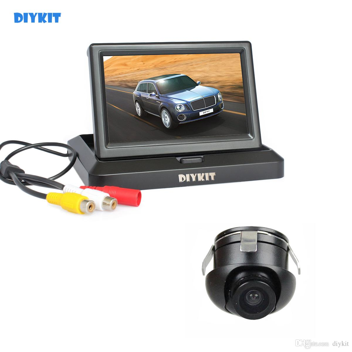 DIYKIT Wired 5inch Rear View Monitor Car Monitor + Back Up Rear Front Side View Cam for Parking Assistance System