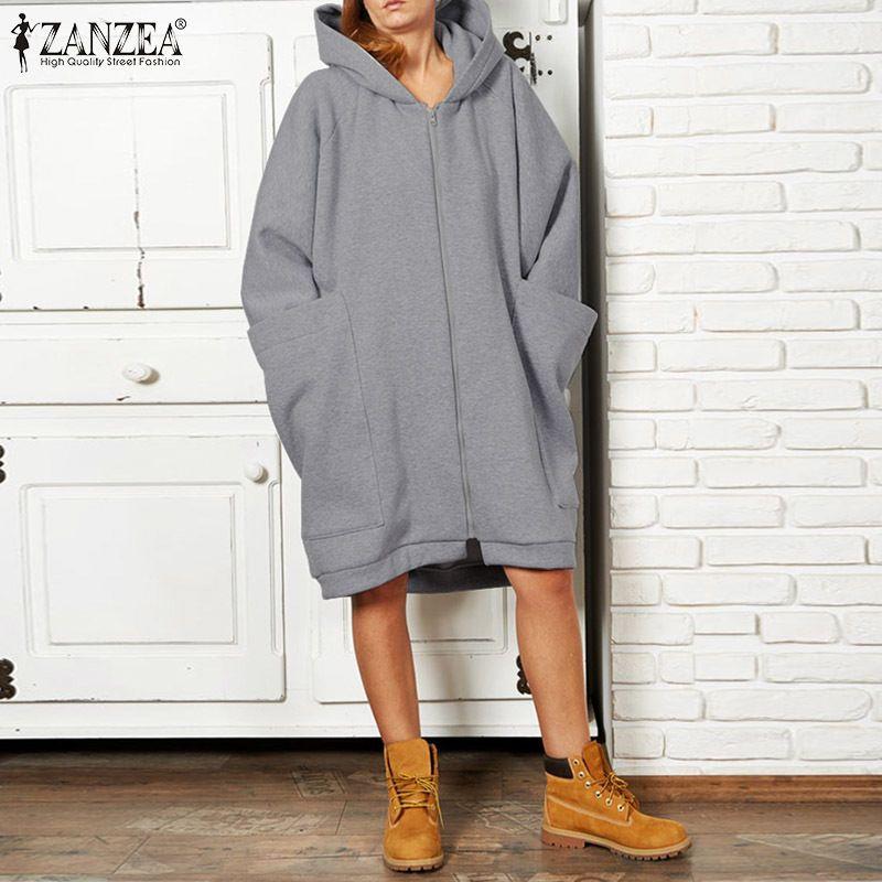 ZANZEA Artı boyutu 5XL Kadın Kazak Casual Kapüşonlular Kış Kadın Uzun Kollu Coats Büyük Tişörtü Fermuar Up Dış Giyim Y200106 Cepler