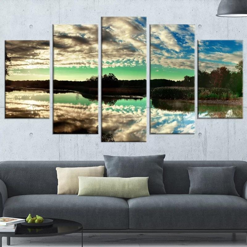 5 Pcs White Clouds Canvas Lake Hd Prints Inverted Image Pictures Wall Painting Home Decoration Modular Poster Living Room Framed