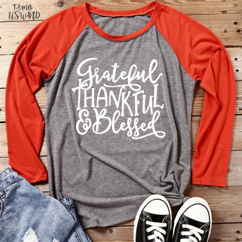 Casual manga comprida Camiseta Mujer grato camiseta Femme Letter Printing graças Cotton Camisetas Longo outono da forma das mulheres