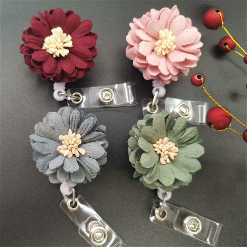 Novelty Hand-woven Flower Retractable Badge Reel Clip Doctor Nurse ID Name Card Holder Buckle Work Accessories Exhibition Supplies N125Y