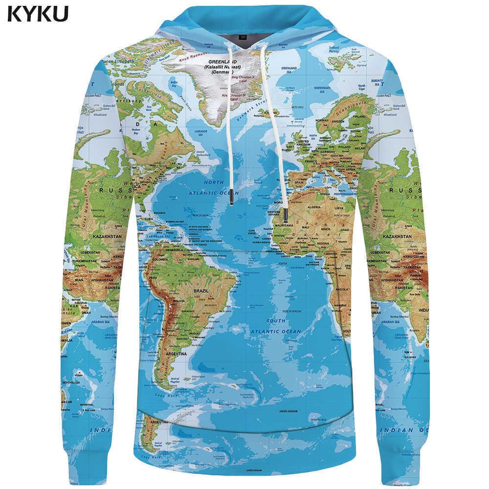 KYKU Brand World Map фуфайки Earth Толстовка Смешные 3d толстовки Мужская одежда Мужчины Прохладный Аниме Hoody Man V191128