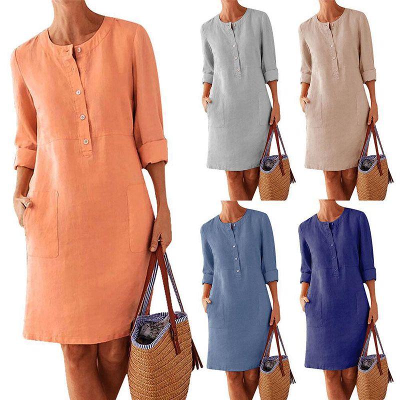 Solid Button abito di lino per le donne Decorare epoca A-Line vestito casuale Moda Autunno O-NeckKnee partito del vestito Plus Size