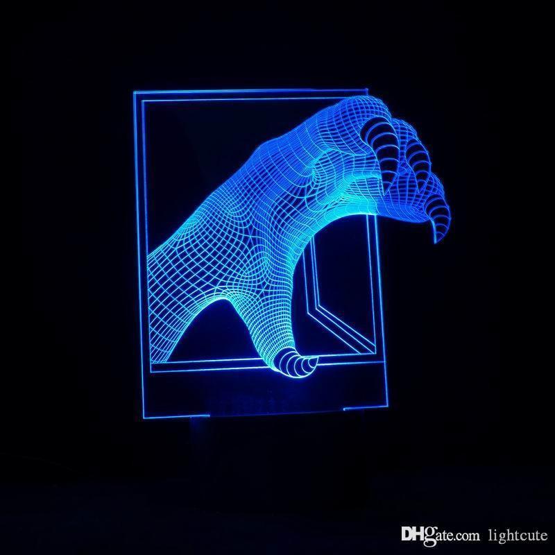 Lampe LED Illusion 3D nuit avec Dragon Claw Forme ABS Ampoule LED comme lampe de bureau de vacances Décoration