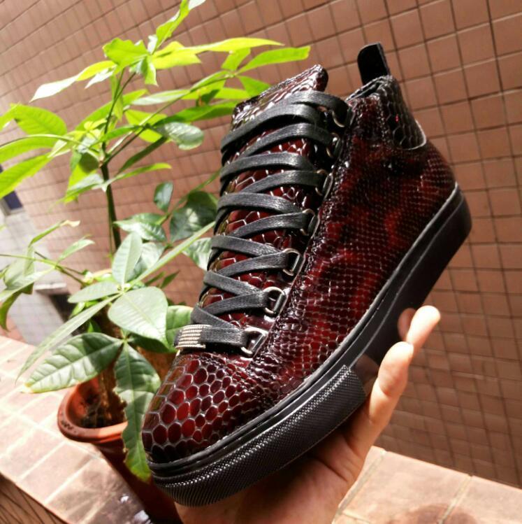 zapatos de hombre del diseñador de bota zapatillas de deporte de cuero negro de tigre para la plataforma de los hombres zapatilla de deporte de los zapatos ocasionales de alta calidad