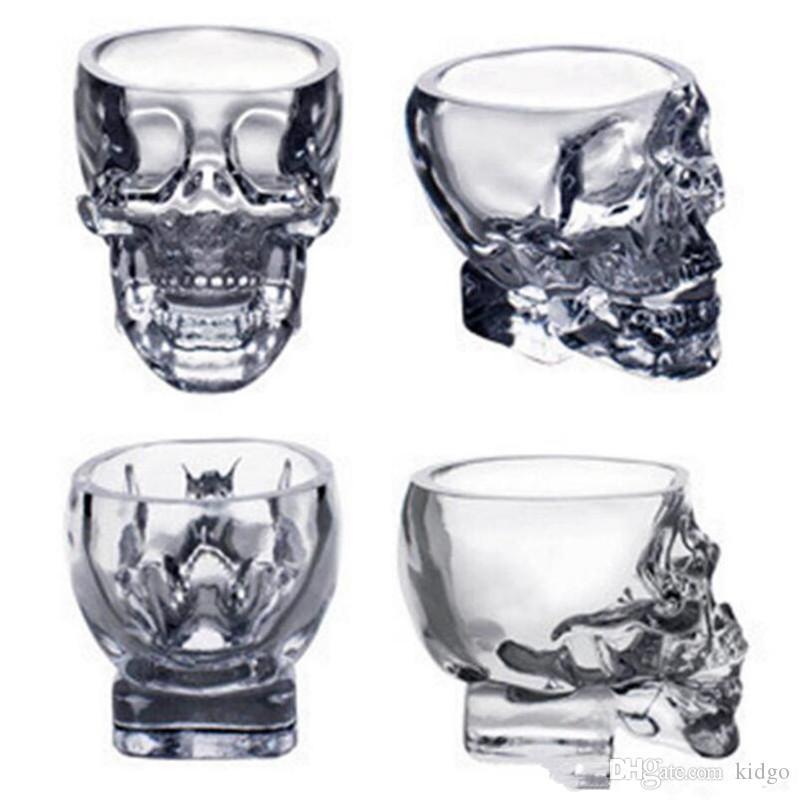 Crystal Skull Head Vodka Wine Shot Glass Drinking Cup 80ML Skeleton Pirate Vaccum Beer Glass Mug T0461