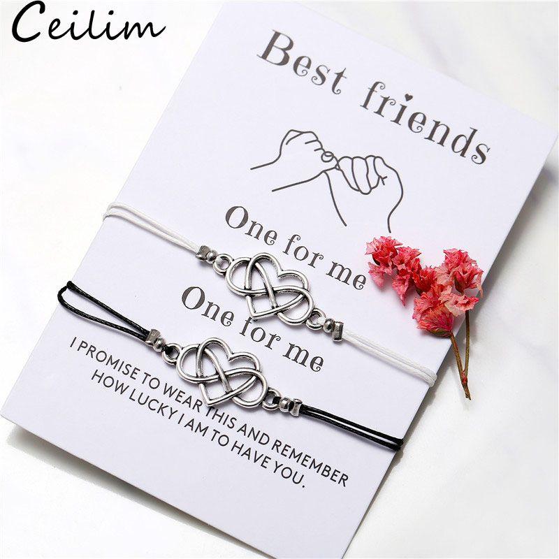 Bohemian Coeur Couples Bracelets Ensemble Pour Femmes Hommes Knot Infinite Knot Knot Cire Bracelet Meilleur ami Vish Card Bijoux 2pcs / Set