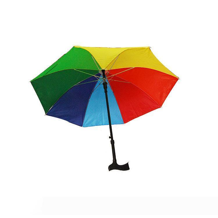 2-in-1 Crutch Umbrella Climbing Hiking Walking Stick Umbrellas With Long Handle Outdoor Windproof Anti-UV Rain&Sun Umbrella GGA2571