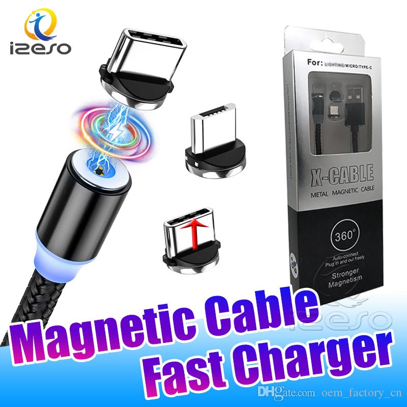 Type C USB Fast Charging Wire 2A Magnetic Cable Line Micro USB Quick Charger for Samsung Note 20 Ultra with Retail Packaging izeso
