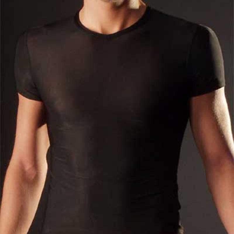 Mens Sexy Супер тонкий майка Прозрачный Tight Фитнес Undershirt Tshirt Muscle с коротким рукавом Топы дышащий Tshirt Мужской Tee