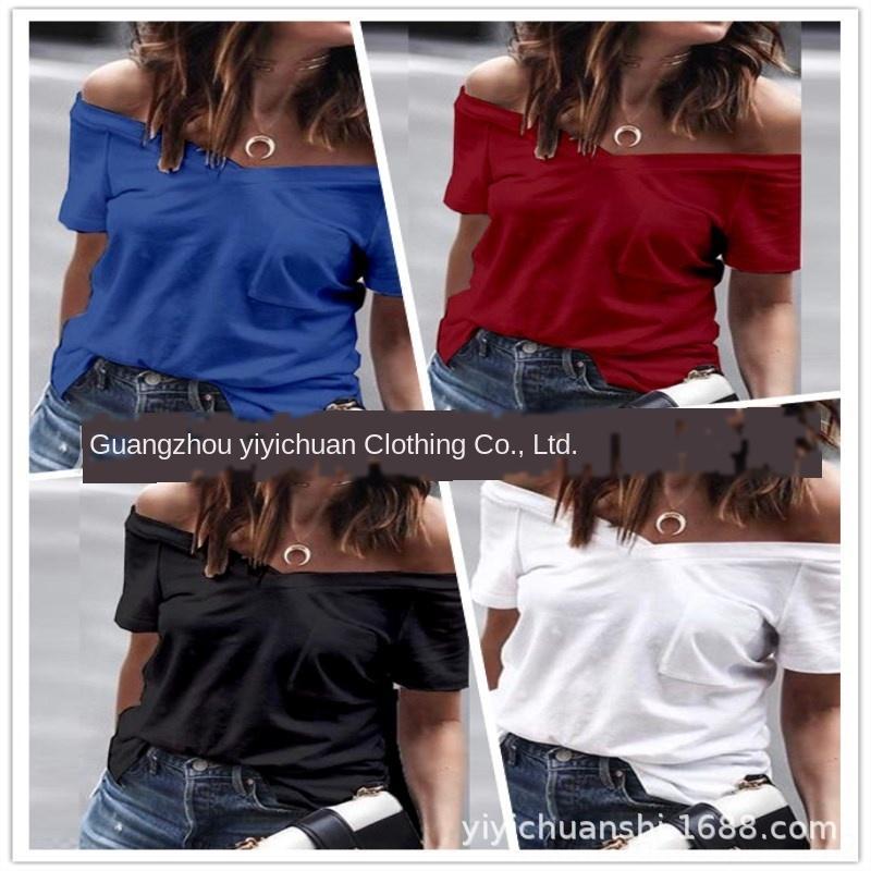 Omuz ve cep d omuz ve cep dekorasyon Mevsimsel kadın kısa kollu bir tişört Mevsim kadın kısa kollu tişört