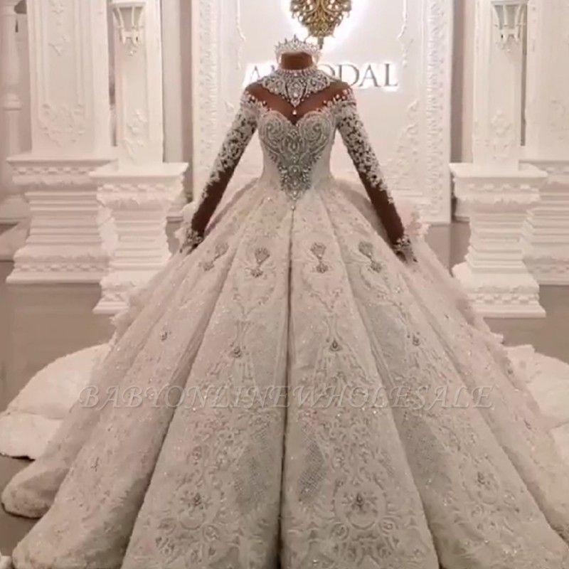 Abiti da sposa abito da sposa vintage 2020 alti collo di lusso treno a maniche lunghe scintilla applique satina abiti da sposa