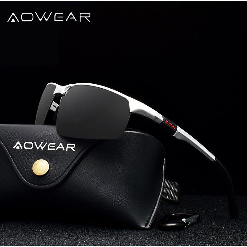 AOWEAR Marka Tasarımcı Çerçevesiz Güneş gözlüğü Erkekler Porlarized Alüminyum Magnezyum Spor Güneş Gözlükleri Erkek Açık Sürüş Goggles'ın gafas Y200619