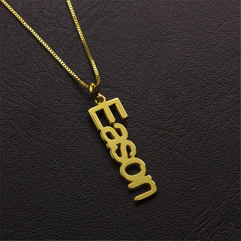 Fashion Box chain Nameplate Necklace 3 Colors Copper Name Necklaces for Women Customized Your Name Jewelry Best Friend Gift bff