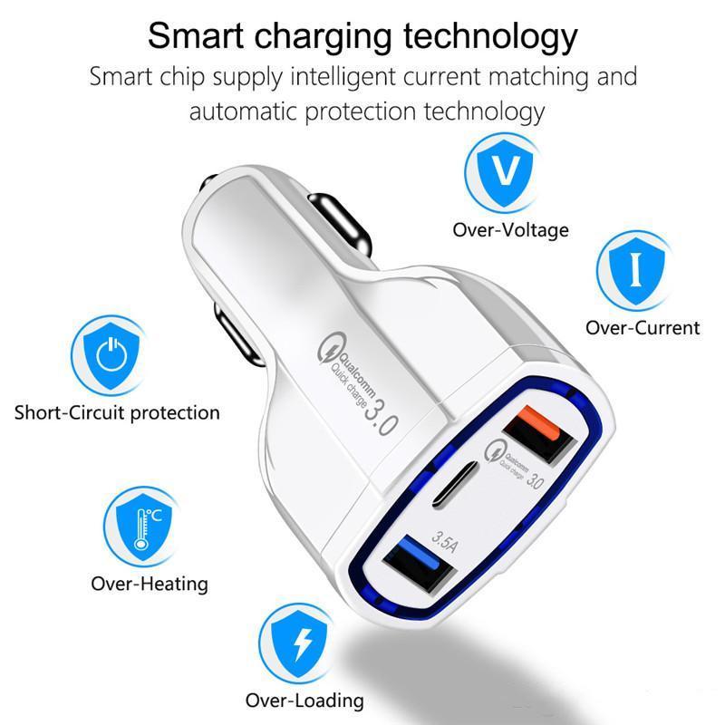 최고 품질 QC3.0 세 가지 포트 USB 차량용 충전기 급속 충전 차량용 충전기 듀얼 USB 자동차 휴대 전화 충전기