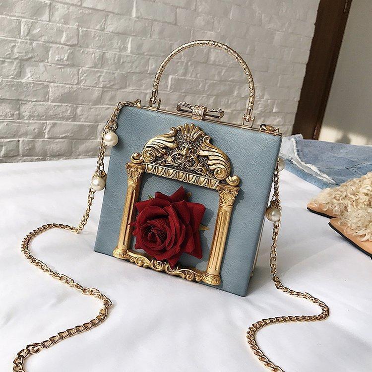 Fashion Small Square Bag-Ketten-Frauen Handtaschen-Schulter Diagonal Bag Kreative Blumen kleines Schloss Dekoration Handtasche Wallet