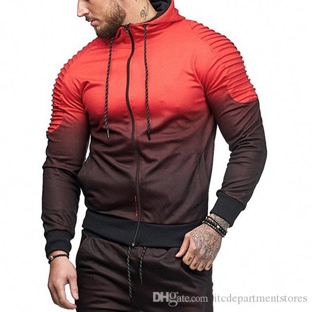 2019 manteau de course pour hommes manteau de sport nouveau outwear sport veste de jogging mâle gym fitness vêtements de sport couleur bloc sport vêtements