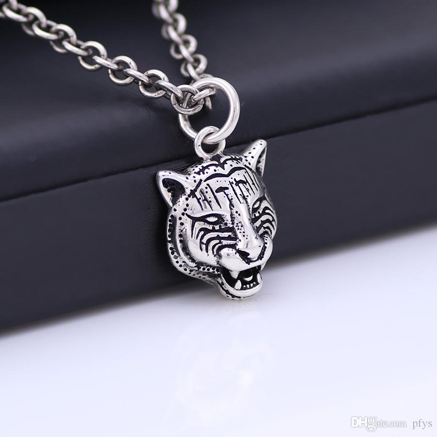 Collana in argento sterling Collana donna S925 Collana pendente vintage retrò in argento e testa di tigre