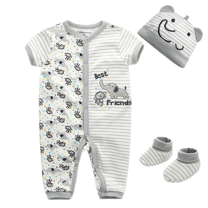 Autumn 3Pcs/Set Baby Clothing Sets Baby Boys Clothes Infant Short Sleeve Romper+socks+Hat Kids Outfits Cartoon Toddler Suit