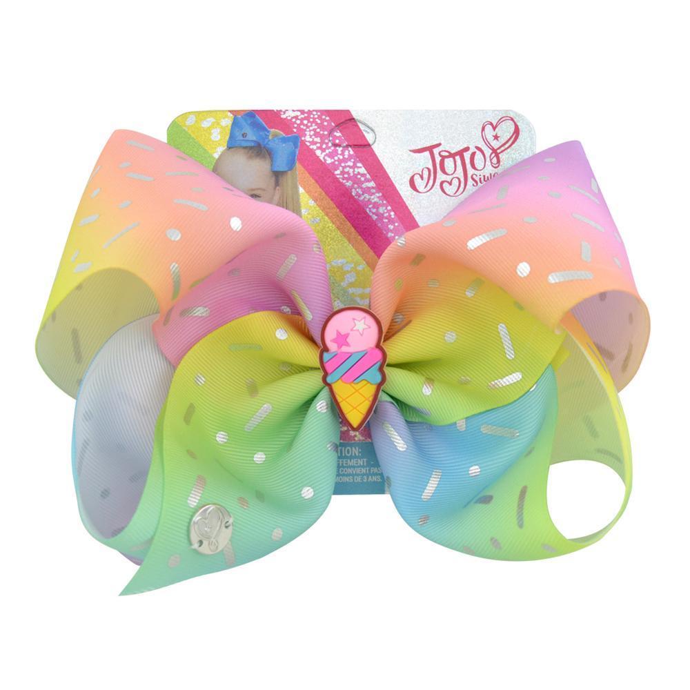 """1piece 8"""" JoJo Yaylar Jojo Siwa Denizkızı Unicorn Gökkuşağı Baskılı Bow İçin Kızlar El yapımı Butik JoJo Saç Klip"""