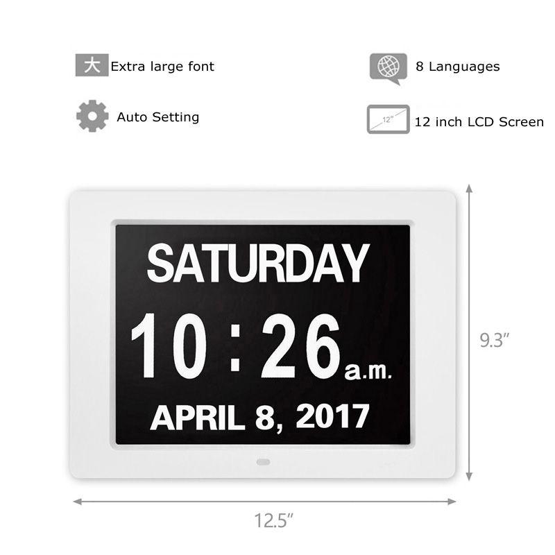 Цифровые фоторамки США штекер 8-дюймовый TFT Цифровая фоторамка ЖК-экран HD Электронный календарь Дисплей часов Экономия времени