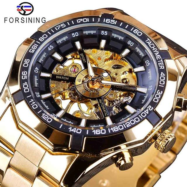 Forsining Man Automatic Mechanical Skeleton Watches Fashion Mens Sport Watches Golden Top Luxury Casual Designer Watch For Men Wholesale