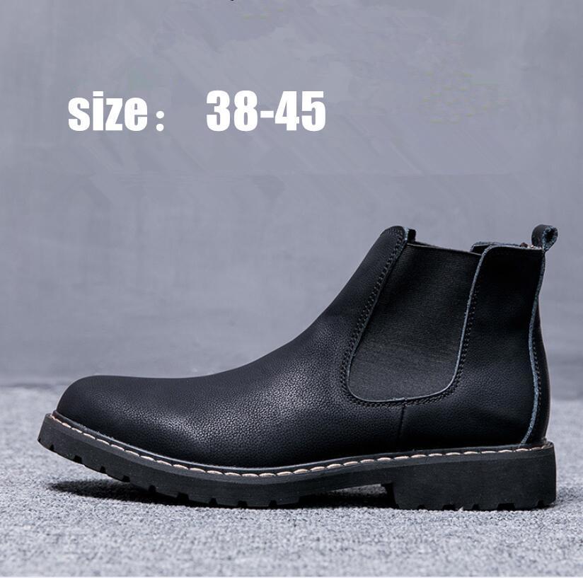 Плюс размер 38-45 Сапоги Зимние мужские дизайнерские туфли черные кожаные сапоги Обувь Теплый Плюшевые Мех для мужчин 8Z-610