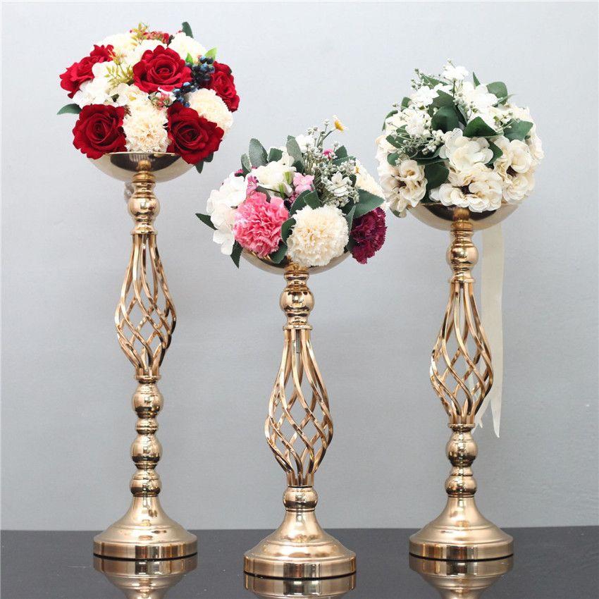 S / M / L Düğün Mumluklar Demir Vazo Mum parti için çiçek Raf yol kurşun düğün merkezinde şamdan Düğün prop dekorasyon standlar