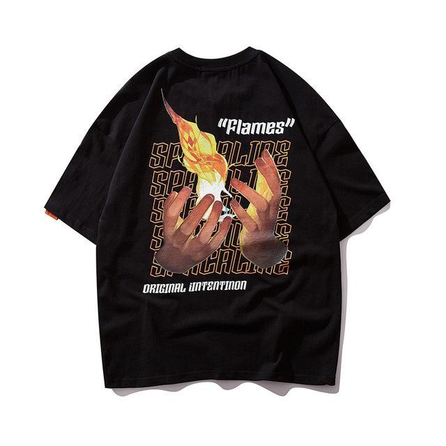 T-shirt da uomo uomo estate moda hip hop fiamma stampa tees streetwear tops maschio cotone manica corta vestiti
