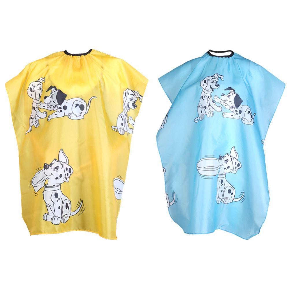1 piezas amarillo / azul perro de dibujos animados niños peluquería capa ropa salón peinado cubierta peluquero peluquero impermeable corte de pelo paño