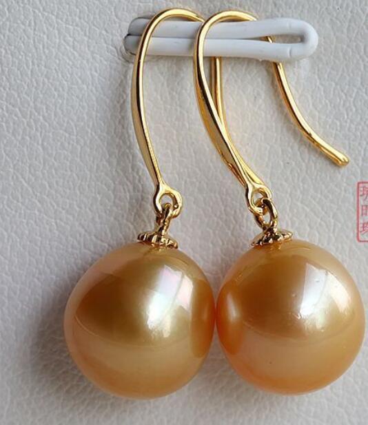 Jewelryr perle charmante10-11mm naturelle ronde mer du sud or rose perle balancent boucles d'oreilles livraison gratuite