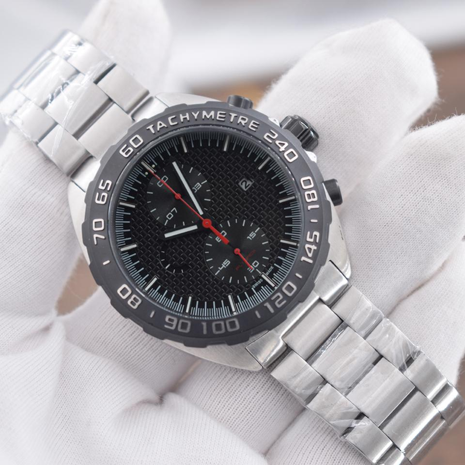 NEW Mens Sport Watch F1 Montres-bracelets Montre Mouvement à quartz japonais face à Chronographe Noir Montres-bracelets en acier de luxe de cas montre