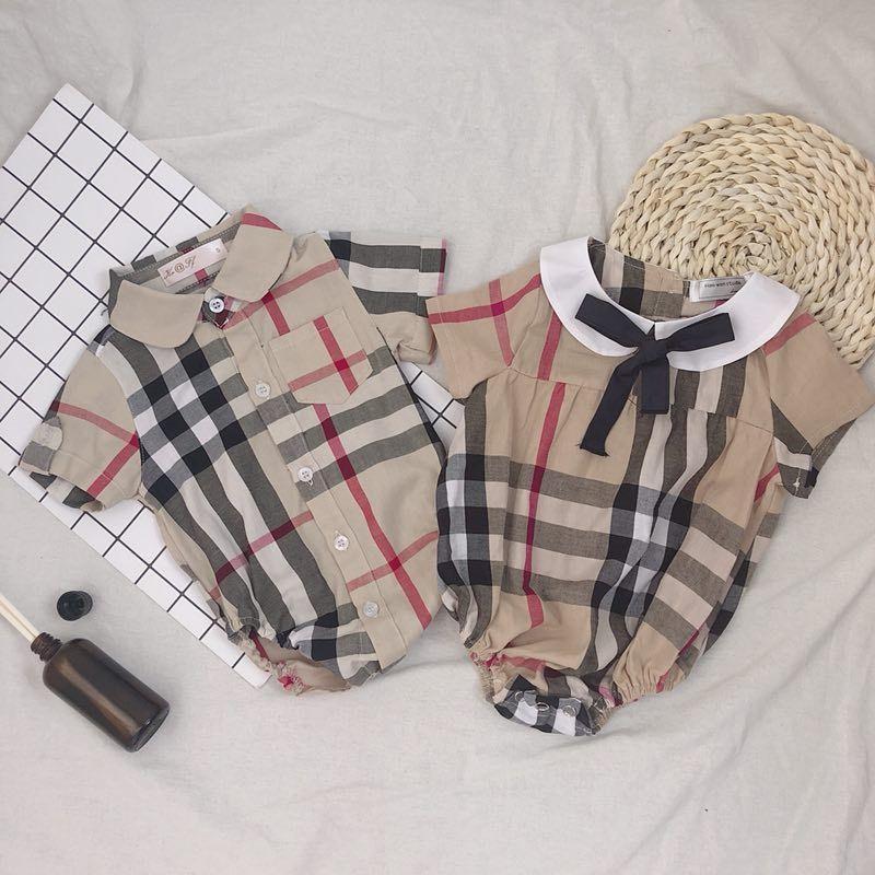 Recém-nascido crianças manta Romper Bebés Meninas Laço de curvas lapela manga curta Macacão Roupa do bebé Crianças Cotton Diaper