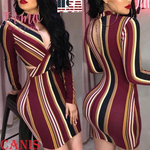 2020 Frauen Streifen O-Ausschnitt Langarm Bodycon Abend-Partei-Backless reizvolles kurzes Minikleid Mix Farbe gestreiftes Kleid