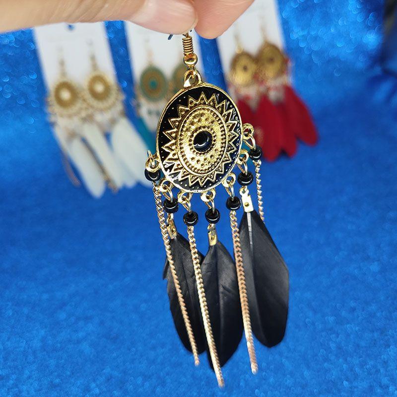 4 farben Retro Gold Lange Kette Feder Quaste Ohrringe Baumeln Kronleuchter für Frauen Werden und Sandy Modeschmuck Geschenk Drop Ship 350068