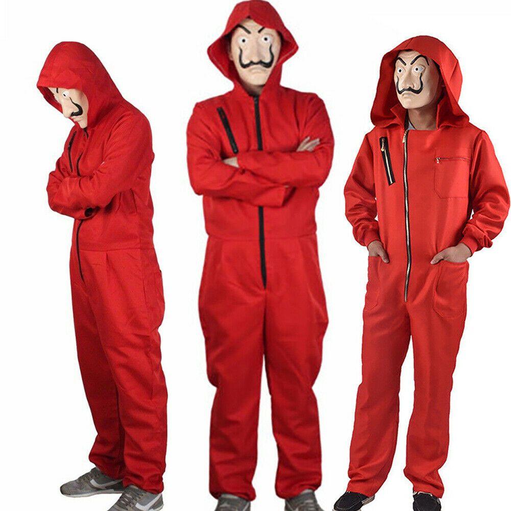 Moda Salvador Dali La Casa De Papel Dinheiro Heist Red Jumpsuit Máscara Cosplay Festival Halloween Jumpsuit Sólidos
