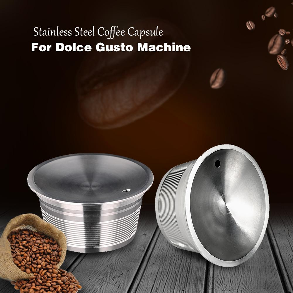 Dolce Gusto reutilizável Capsule Capsulas Dolce Gusto Reutilizables Stainless Steel recarregáveis Filtro de café Dolce Gusto Caps Pods T200523