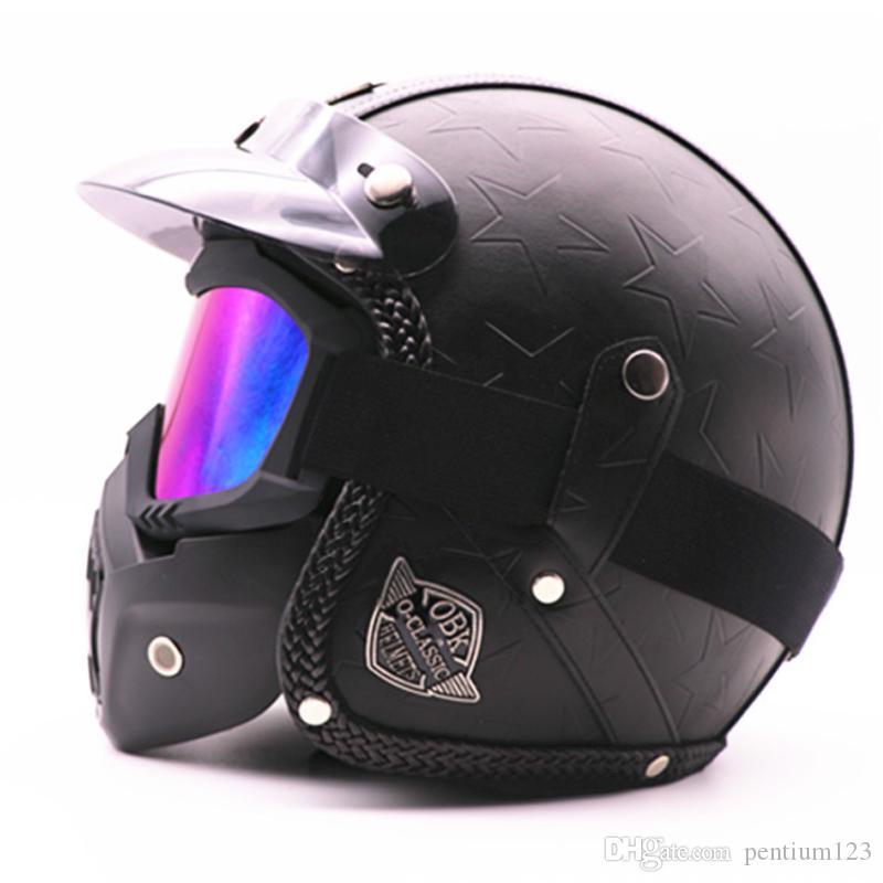 Flip Up Kask el yapımı Retro motosiklet kask tam yüz kask erkekler ve kadınlar kişilik lokomotif pedalı kruvazör moto Maskesi