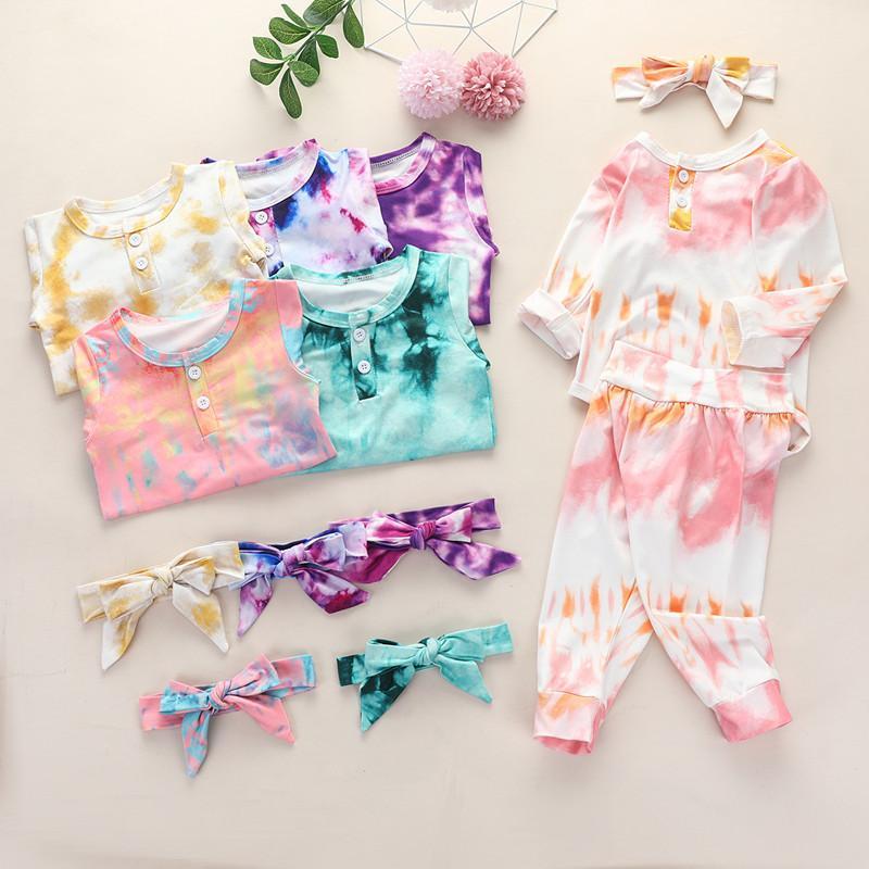 Baby-Mädchen-Kleidung Krawatten-Kleidungs-Satz Langarm-Body-Hosen-Bogen-Stirnband 3 PC Art und Weise Infants Wear, Winter, Herbst-Outfits
