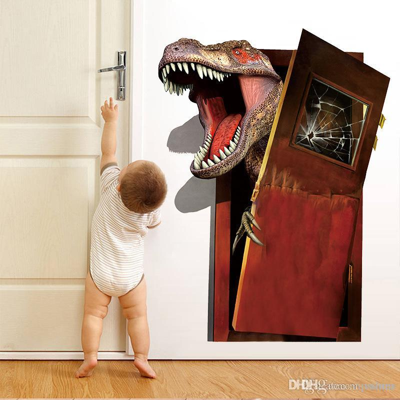 3d Through dinosaur Wall Stickers Decals for kids rooms Home Decoration Wallpaper Kids Cartoon Poster Art for Baby Nursery Room