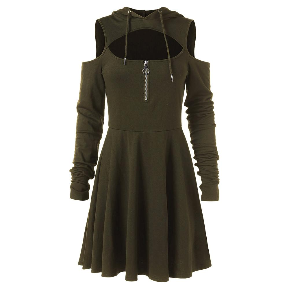 Fashion Cold Shoulder Women Dresses Female Open Shoulder Long Sleeve Hooded Swing Zipper Dress plus size clothes robe femme