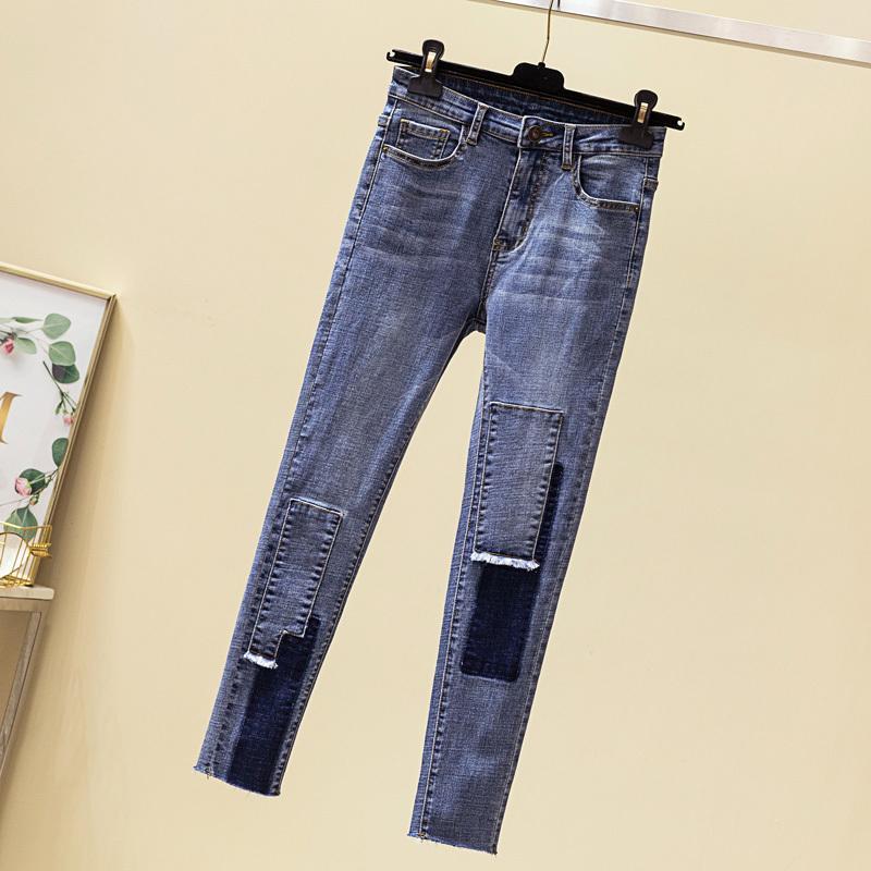 Plus Size Bleu Denim Jeans Femmes 2020 Pantalons Automne New Slim Crayon taille haute Jeans Femme Lady Maman