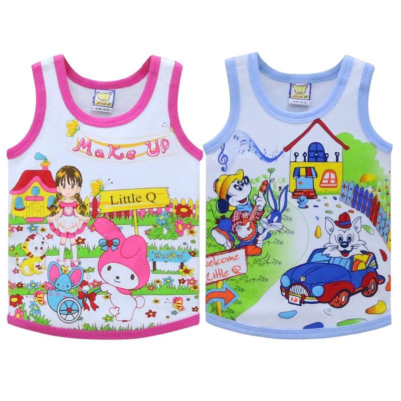 Crianças Tops para 2-4 anos de idade do bebê 100% puro algodão Pouco Q camisas sem mangas 2.019 Verão Blusa